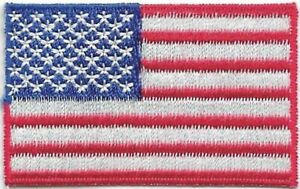 """1 3/8"""" x 2 1/4"""" Color US United States American Flag Embroidered Patch"""