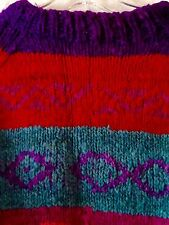 One Of A Kind Ladies Medium Wool Multicolor Southwest Crewneck Sweater Handmade