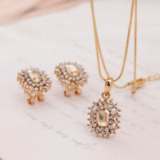 Gold Plated Champagne Crystal Pendant Necklace Earrings Jewelry Bridal Set S22