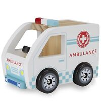 Wooden Wheels Chunky Toy Ambulance Rescue Vehicle