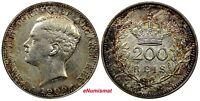 Portugal Manuel II Silver 1909 200 Reis aUNC RAINBOW TONED 1 YEAR TYPE KM# 549