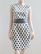 EXPLOSION NWT Sleeveless Sheath Dress Black Gold Cream sz 40 12 RRP $259