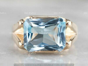 8 CT Cushion Cut Solitaire Aquamarine Men's Engagement Ring 14k Yellow Gold Over