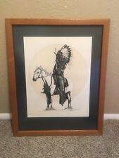 Vtg 1981 Dan Burnett Signed Native American Chief Horse Pencil Drawing Framed