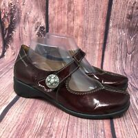 Sanita Women's Burgundy Patent Leather Mary Jane Clogs Shoes Size 39 US 8 - 8.5