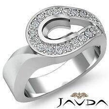 Oval Semi Mount 14k White Gold Diamond Engagement Halo Pave Unique Ring 0.5Ct