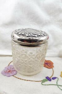 Antique Hallmarked St Silver Topped Glass Powder Vanity Pot Jar Birmingham 1911
