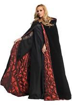 "ADULT 63"" BLACK VELVET & RED LINING CAPE CLOAK GOTHIC COSTUME DRESS UR29292"