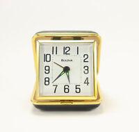Bulova QUARTZ Travel Alarm Clock Black & Gold Metal Clam Shell Case White Dial
