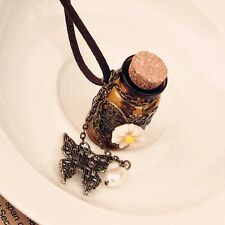 Chic Leather Chain Long Gift Pendant Necklace Wishing Bottle Butterfly Flower