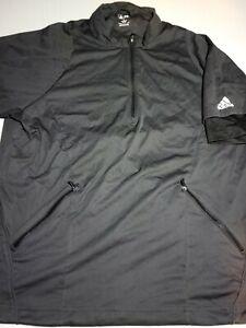 Adidas Men's Size XL Blac Pullover Short Sleeve 1/4 Zip Golf Jacket Zip Pockets