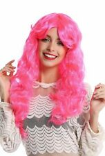 Peluca de Señoras Halloween Carnaval Largo Rizado Voluminoso Pink Rosa Raya