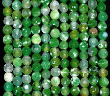 6MM  AGATE GEMSTONE ICE GREEN FACETED ROUND LOOSE BEADS 14.5""