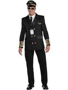 Adult Mens Top Pilot 60s Airline Captain Uniform Aviator Fancy Dress Costume M-X