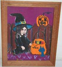 VINTAGE HALLOWEEN OIL PAINTING TRICK OR TREAT