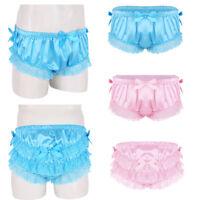 Shiny Satin Mens Ruffled Lace Sissy Boxer Shorts Knickers Briefs Thong Underwear