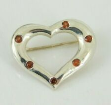 925 Sterling Silver Red Glass Heart Pin