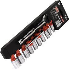 Siegen 12pzas 1/4 Unidad Metric Socket Set Acero Cromo Vanadio Mango Trinquete