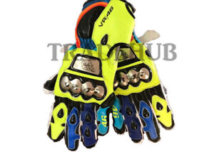 New VR46 Vallentino Rossi Motorbike/Motorcycle Riding/Racing Leather Gloves