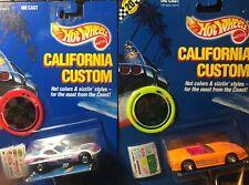 Two Hot Wheels 1989 California Custom Corvette and Corvette Funny Cars - New