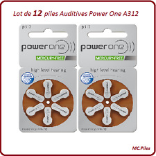 Lot de 12 piles boutons auditives A312 Power One, livraison rapide et gratuite