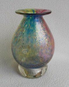"""Angela Henderson Jorvik Studio Multi Coloured Art Glass 4"""" Vase ~ Signed"""