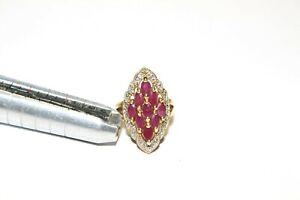 Sterling Silver UTD Technibond Marquise Rubies Vermeil Size 5 1/2 Ring! QVC