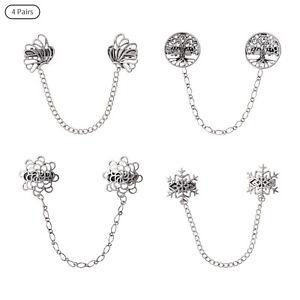 4x Vintage Shirt Collar Clip Alloy Chain Tassel Brooch Pins Cape Bags Decoration