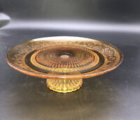 "Vintage Indiana Glass Tiara Sandwich Glass 9"" Pedestal Platter Cake Plate Amber"