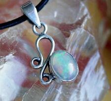 Kettenanhänger Silber Edelopal Weiß A+++ Opal Oval Bunt Verspielt Floral Vintage