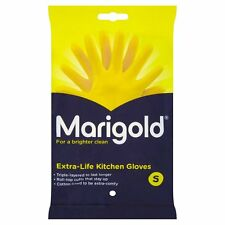 MARIGOLD Extra Life Kitchen Washing Up Rubber Gloves Clean YELLOW Size SMALL UK