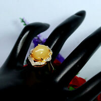 NATURAL 11 X 14 mm. OVAL YELLOW OPAL & WHITE CZ RING 925 STERLING SILVER