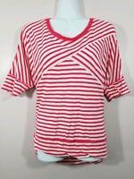 Women's Lane Bryant 14/16 Red Striped Short Sleeve Top Shirt
