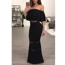 Abito lungo volant scollo Fascia Aderente Cerimonia Party Overlay Gown Dress M
