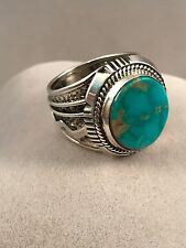 Navajo Stabilized Turquoise And Sterling Silver Ring By Wilbert Denetdale