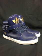 ADIDAS ADI-RISE MID Ankle Strap Royal Blue White G20517 Patent Leather Gold 12