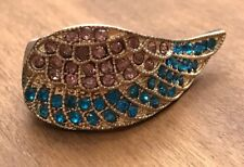 Rebel Luxe Stretch Ring Angel Wing Adjustable Rhinestone Crystal Pink Blue