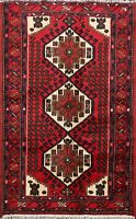 Geometric South-western Red Hamedan Hand-Knotted Red/Navy Wool Area Rug 3x5 ft