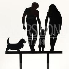 Mr & Mrs Child & Sausage Dog Acrylic Wedding Day Cake Topper Silhouette Bride