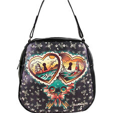 LUCKY 13 HEART LOCKS  SKULL  TRAVEL BAG PURSE MOTORCYCLE womens LADIES