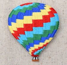 Iron On Embroidered Applique Patch Colorful Zig-zag Stripe Hot Air Balloon