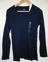 NWT GAP Women's Favorite LS V-Neck T-Shirt Navy Blue XS S M L XXL Free Ship New