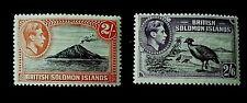 British Solomon Islands KGII 1939 Two definitive Values 2/- & 2/6d UnM Mint