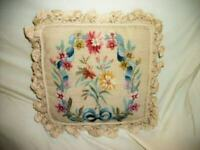 FRENCH NEEDLEPOINT AUBUSSON FEATHER PILLOW FLORAL BOW VINTAGE EARLY MID CENTURY
