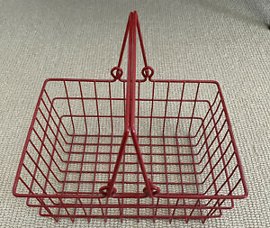 Wire Coated Metal Red Egg Basket Handle Home Kitchen Decor Organizer 9.5x7.5