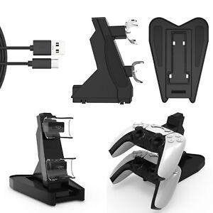 Dual Charging Ladegerät Ladestation + LED Licht für Sony PS5 Controller Joystick