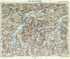 Lago d'Orta,Maggiore,di Varese,Lugano,Como. Carta Geografica. Stampa Antica.1886