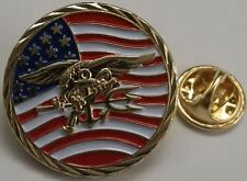 """USN SEAL Team ST6 US Flag 3D Trident DevGru 1"""" Brass Hat / Lapel Pin / Tie Tack"""