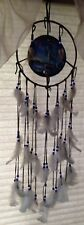 """Wolf / Wolves Dream Catcher Leather And Feathers, 30"""" Long, Hoop Is 9 1/2"""""""