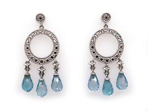 14k White Gold 6ct Briolette Blue Topaz Dangle Drop Chandelier Circle Earrings